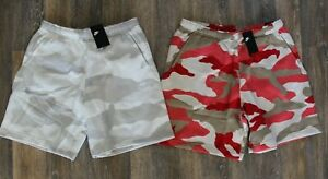NWT NIKE Men's Logo Fleece Shorts Red Bone Gray Camouflage RARE COLOR!