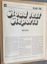 MGB GT Rubber Bumper Roatest Report Dated 1979