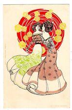 POSTCARD ART NOUVEAU TWO BRUNETTE WOMEN 1902 SIGNED WITZEL