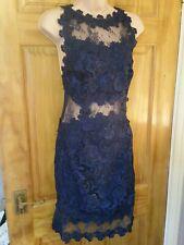 Topshop Encaje Al cuerpo Vestido Talla 6 nuevo impresionante Azul Marino