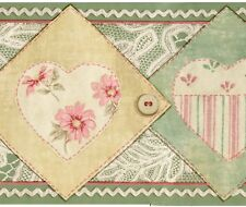 Country Lace Patchwork Fabric & Hearts - ONLY $9 - Wallpaper Borders A498