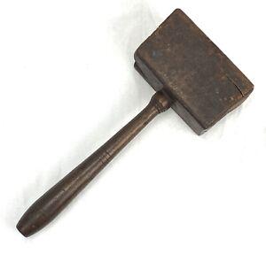 """Large Antique Vintage Wood Wooden Mallet Hammer Primitive """"14""""  1 Lb and 13 Oz."""