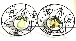 2 Decorative Farmhouse Metal Round Wire Baskets W/ Floral Design & Tiled Bottom