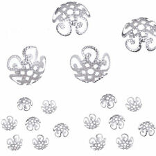 200 Pcs Silver Filigree Hollow Flower End Spacer Metal Bead Caps DIY Findings