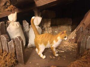 Cat Figurine Nativity Village Dollhouse Papo Miniature Animal Pesebre Gato