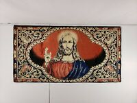"Vintage Wall Hanging Velvet Tapestry Jesus Christ 39"" X 20.5"" Rug Made In Italy"