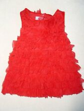 MUD PIE BABY GIRL RED RUFFLE DRESS CHRISTMAS HOLIDAY PORTRAIT 0-6 MONTHS