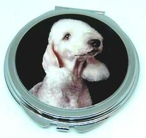 Bedlington Terrier compact Mirror-  Handbag Handeld - gift - Square - Round
