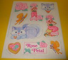 Vtg 1983 ROSE PETAL PLACE Hallmark Sticker Sheet~David Kirschner~Cat~Butterfly
