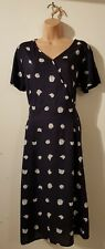 COTTON TRADERS NAVY BLUE FLORAL TEA DRESS SIZE 14 WOMEN'S 50'S FIT & FLARE PARTY