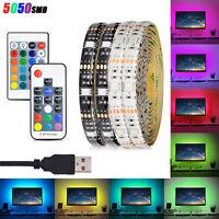 Waterproof 5V 5050 60SMD/M RGB LED Strip Light Bar TV Back Lamp Kit+USB Remote