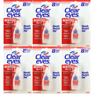 6 PACK  CLEAR EYES  DROPS REDNESS RELIEF 0.2 OZ.6 ML EXP (2022)UP TO 12 HOURS