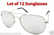 WHOLESALE LOT OF 12 SILVER MIRROR AVIATOR PILOT WIRE COP FRAME SUNGLASSES SHADES