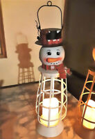 "Lighted Metal Snowman LANTERN 16"" Country Christmas Winter Decor"