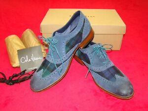 NIB Cole Haan Mens Size 10.5 M Air Colton Blue Plaid Suede Wingtip Oxford Shoes
