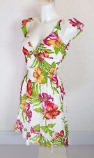 RUBY ROCKS white green pink floral cotton Ruffle sleeve hem Mini skater dress S