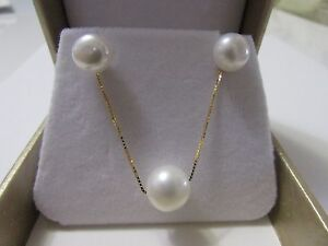 9mm White Pearl Sterling Silver14K Gold Plated Chain Necklace/Stud Earring Set