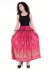 Ladies Indian Boho Hippie Gypsy Long Sequin Skirt Rayon in Pink with Gold inset