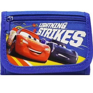 Disney Car Authentic Licensed Canvas Trifold Blue Wallet for Children