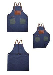 Work Apron Cotton Canvas Leather Coffee Shop Garden Apron Wear-resistant Vintage