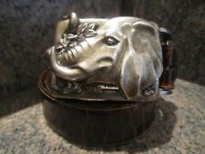 HUGE!!! KIESELSTEIN-CORD ELEPHANT BELT BUCKLE WITH BROWN ALLIGATOR  BELT
