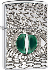 Zippo Choice Emerald Reptile Eye Polish Chrome Armor Engrave Dragon Snake 28807