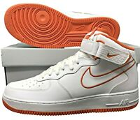 Nike Air Force 1 One Mid '07 Leather White/Terra Orange Mens Shoes SZ AQ8650 100