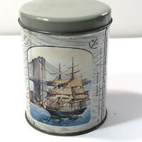 Peanut Crunch Cherrydale Farms Empty Tin Canister Nautical theme sailing ships