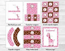 Pink Giraffe Printable Birthday Party Package