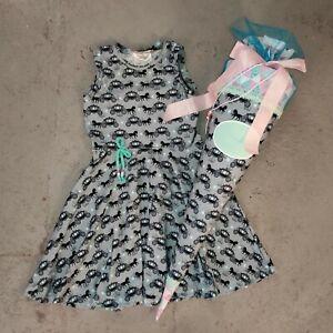 handmade Einschulung-SET Schultüte + Drehkleid Kleid Pferde WUNSCHNAME Gr. 134
