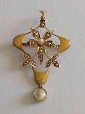 BELLISSIMO Fine Art Nouveau 9 KT Oro Semi Pearl Set ciondolo-spilla