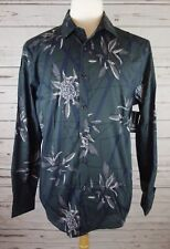 Inc Green Dark Mens Blue Size Large L Button Down Floral Foliage Shirt