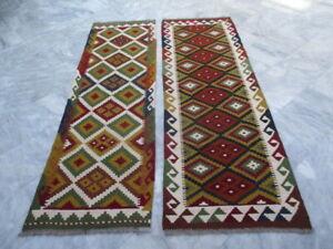7028 - 7029 Two Maimana Hand Woven Wool Kilim Runners 195 X 60  - 198 x 65 cm
