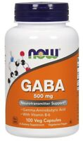 NOW FOODS - GABA 500mg - 100 Veg. Capsules Healthy Sleep - Free Shipping !