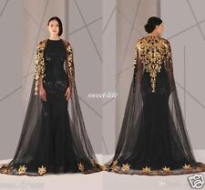 Gold/Black Arabic Muslim Evening Dresses Mermaid Formal Pageant Gowns Custom