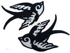 Pair Of Black Swallows Rockabilly  Iron / sew on silk Embroidered Patch UK