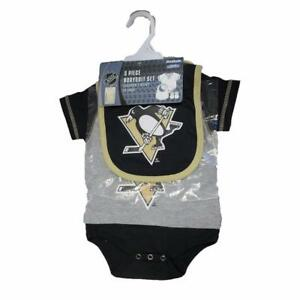 NHL Official Pittsburgh Penguin 3 Piece Bodysuit Bib & Booties 0-9 Months Outfit