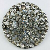 Vintage Large Brooch Prong Set Rhinestone Pin Circular Statement Bold Jewelry