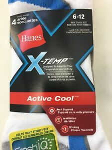 1 pack - Hanes 4 Pair X-TEMP MENS ANKLE SOCKS WHITE White SIZE 6-12