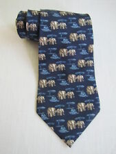 Banana Republic Silk Necktie Navy Blue Elephants Pattern MADE IN ITALY