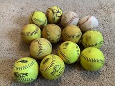 13 Used Softballs Mixed Lot of 12 inch Softballs Batting Practice Bp Cage