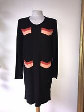 SONIA RYKIEL NWT SZ M BLACK CORAL - RED COTTON LONG SLEEVE KNIT DRESS