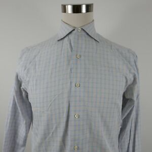 Brooks Brothers Mens Slim Fit LS Button Up Blue Plaid Shirt 15-33 French Cuffs
