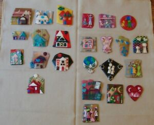 Lot 26 Lucinda Pins House People Holiday Dog Cat Missing Fasteners