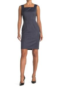 HUGO BOSS Digela Womens Stretch Virgin Wool Sleeveless Sheath Dress Blue Size 10