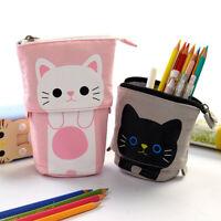 Cartoon Cat Pencil Case Telescopic Zipper Stationery Box Bag Organizer Pen Pouch