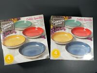 "Gibson Color Speckle 2 Sets of 4 (8 Pieces) Colorful Salad Bowls 8 1/4"" NEW NIB"