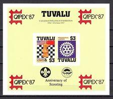 Tuvalu, Scott cat. 352 B. Chess & Rotary IMPERF Scout s/sheet, CAPEX logo.