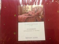 "Charter Club Luxury Filigree Queen Bedskirt Home Cotton Sateen 16"" Drop New Red"