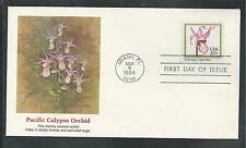 # 2076-2079 ORCHIDS: LADY SLIPPER, WILD PINK... 1984 Fleetwood First Day Covers